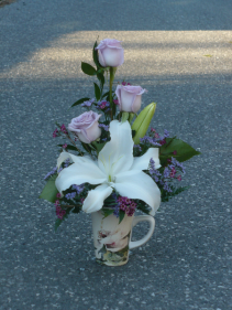 Sweet Magnolia  Lavender Roses & Lily in Bone China Mug