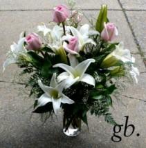 """Sweet Memories White Lilies with Pink Roses & Babies Breath 18"""" tall"""