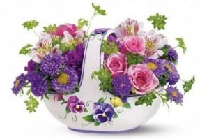 Sweet Pansy Basket Bouquet  in San Mateo, CA | GREEN FASHION FLORIST