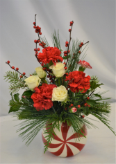SWEET PEPPERMINT DESIGN FRESH FLOWER ARRANGEMENT