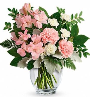 Sweet pink and white vase arrangement  Vase