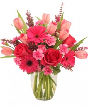 Sweet Pink Mystique Arrangement in Winston Salem, NC | RAE'S NORTH POINT FLORIST INC.