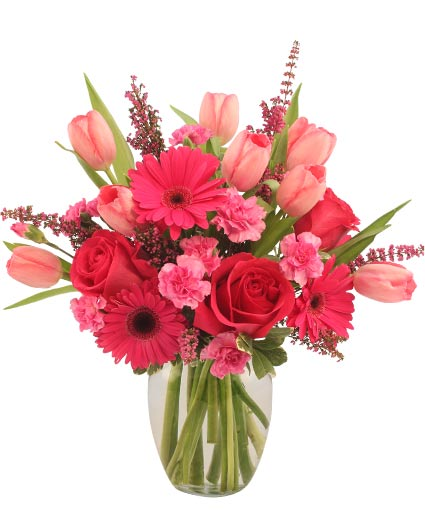 Sweet pink mystique arrangement in barre vt forget me not flowers sweet pink mystique arrangement mightylinksfo