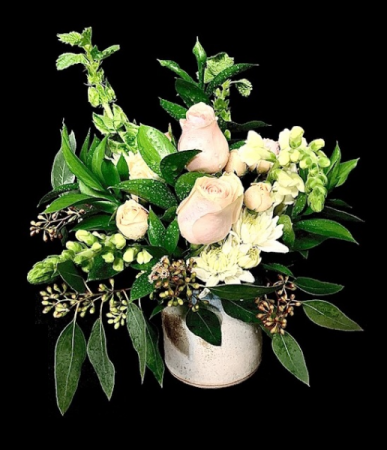 Blushing Pottery Vase Mixed Floral