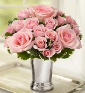 "Sweet Pink Roses in 4"" Julep Cup Pink or Deep Red, Just Tell Us!"