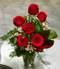 Sweet Sentiment 1/2 Dozen Rose Bouquet  Vased Arrangement