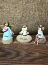 Sweet sisters angel figurine Ceramic figurine