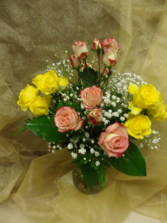 Sweet Spray Roses Spray roses in mixed colors vased with filler