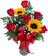 Sweet Devotion Half Dozen Roses with Sunflowers Rose Arrangement