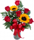 Sweet Suitor Roses with Sunflowers Valentine Arrangement
