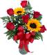 Sweet Devotion Half Dozen Roses with Sunflowers Rose Arrangement