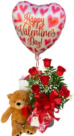 Sweet Suitor Valentine Bundle Half Dozen Red Roses