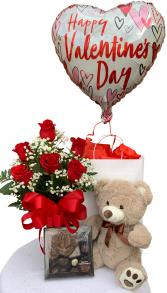Sweet Suitor Valentine Bundle Half Dozen Rose Arrangement