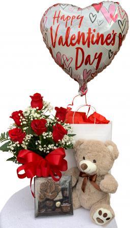 Sweet Suitor Valentine Bundle Half Dozen Rose Arrangement