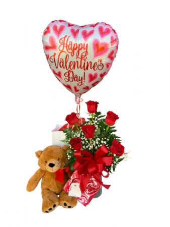 Cupid's Embrace Valentine Package Half Dozen Roses