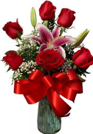 Sweet Devotion with Stargazer Lily Half Dozen Rose Vase
