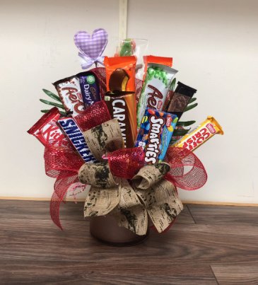 Sweet treats Chocolate and candy bouquet