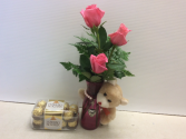 Sweet trio  Roses,plush ,Chocolet .