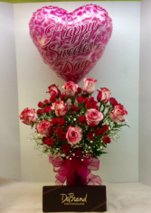 Sweetest Day Bouquet With DeBrand Truffles and Balloon