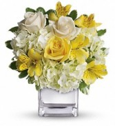 Sweetest Sunrise bouquet Cube arrangement