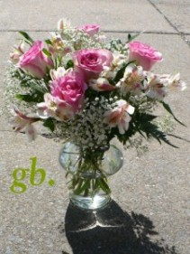 "Sweetheart 6 Roses with Alstromeria and Babies Breath 12""tall"