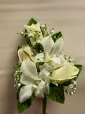 Sweetheart rose and dendrobium orchid corsage