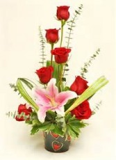 Sweetheart Rose and Lilly Bouquet Red Roses with Pink Lily's