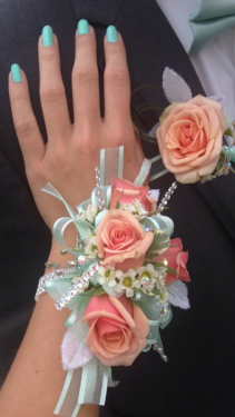 Sweetheart rose Corsage  Your choice of ribbon and sparkles!