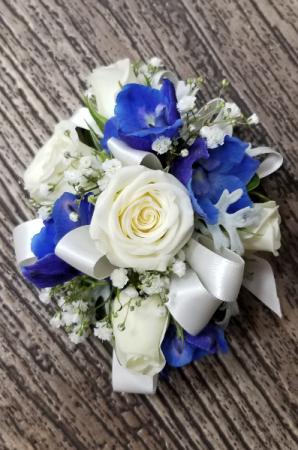 Sweetheart Roses & Delphinium Wrist Corsage