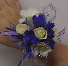 Sweetheart Roses, Freesia, & Delphinium  Wrist Corsage
