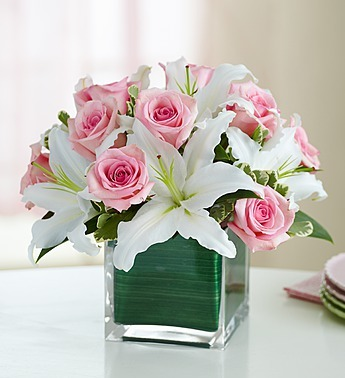 SWEETHEART SURPRISE WHITE LILIES PINK ROSES