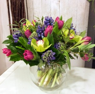 Sweetly Scented Vased Arrangement Semi-Compact