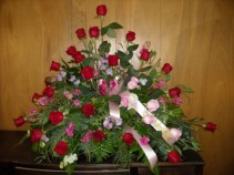 Sweetpea and Roses Sympathy Arrangement