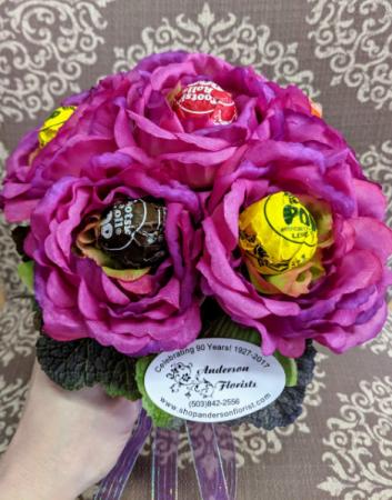 Sweety Pie Hand Tied Sucker and Silk flowers bouquet