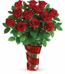 Swirl Vase Red Roses