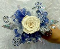 Swirled Blue Wrist Corsage