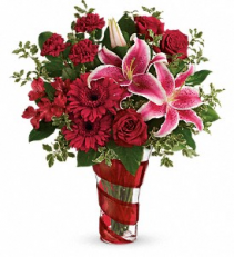 Swirling Desire Bouquet         T18V200 Keepsake Floral Arrangement