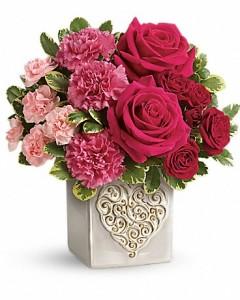 Teleflora's Swirling heart bouquet Cube arrangement-fresh