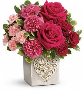 Swirling Heart Bouquet Valentine's in Azle, TX   QUEEN BEE'S GARDEN