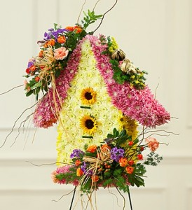 BIRD HOUSE OF SYMPATHY Standing Spray in Texas City, TX | FROM THE HEART FLORIST