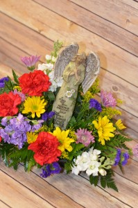 Sympathy Angel with Fresh Flowers