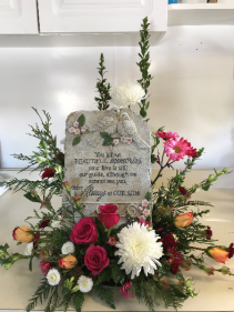 Sympathy Arrangement with Stone Funeral