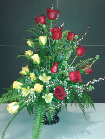 SYMPATHY ARRANGMENT Red and yellow rose arrangement