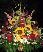 Sunflowers/Mixed Roses Sympathy Basket
