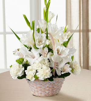 Sympathy Basket  All White Flowers in a basket in Lebanon, NH | LEBANON GARDEN OF EDEN FLORAL SHOP