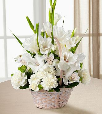 Sympathy basket all white flowers in a basket in lebanon nh sympathy basket all white flowers in a basket mightylinksfo