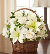 Peaceful Sympathy Basket Roses and Lilies