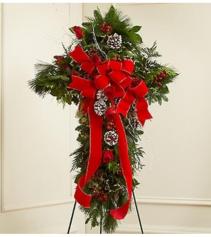 Sympathy Cross in Christmas Colors Arrangement