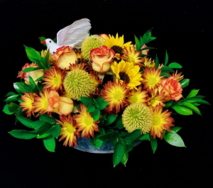 Sympathy Fall Centerpiece Fall Design in Metal Galvanized Tray in Plainview, TX | Kan Del's Floral, Candles & Gifts