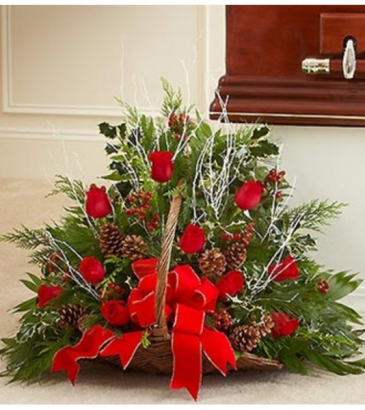 Sympathy Fireside Basket in Christmas Colors Arrangement
